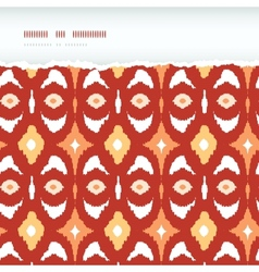 Red and gold ikat geometric frame horizontal torn vector image