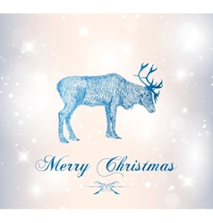 reindeer with snowflakes vector image vector image