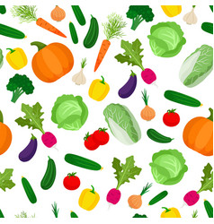 seamless pattern with colorful vegetables vector image