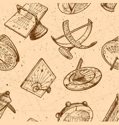 seamless pattern with different sundial vector image vector image