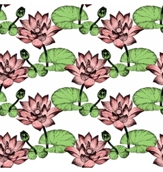 Seamless pattern with Lily flowers watercolor vector image