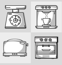 Set kitchen utensils object to make food vector