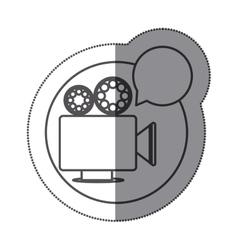 Sticker silhouette circular shape with retro movie vector