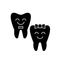 teeth care - happy tooth icon vector image vector image