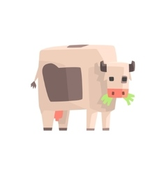 Toy simple geometric farm cow browsing with mouth vector