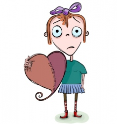valentine cartoon girl vector image vector image