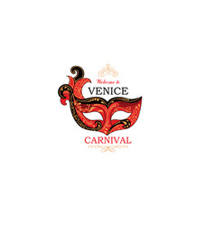 Venice sign with venetian carnival party eye mask vector