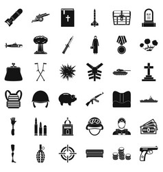 War army icons set simple style vector