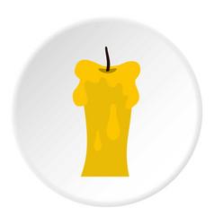 Waxen candle icon circle vector