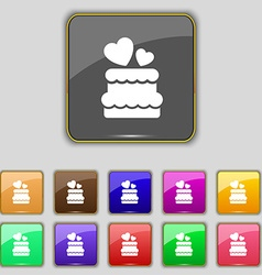 Wedding cake icon sign set with eleven colored vector