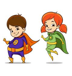 two happy super hero kid vector image