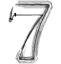 Technical typography number 7 vector