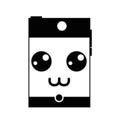 Contour grayscale kawaii cute happy smartphone vector