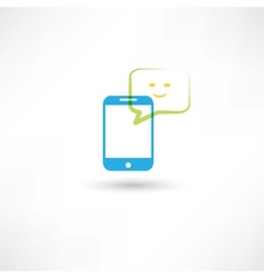 cellphone with happy bubble speech vector image