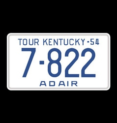 Kentucky 1954 license plate vector