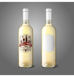 Two realistic bottles for white wine with labels vector