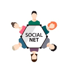 teamwork social net people group vector image