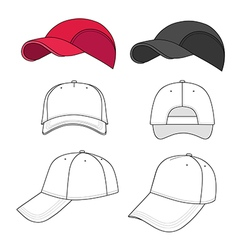 Baseball tennis cap outlined template vector
