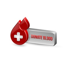 Red blood medical icon with button vector