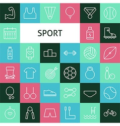 Flat line art modern sports and recreation icons vector