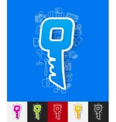 Key paper sticker with hand drawn elements vector