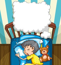 Little boy in yellow pajamas sleeping vector