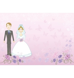 Bride and groom on pink floral background vector