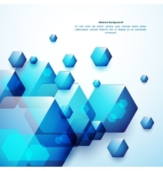 Abstract blue and glass hexahedrons background vector