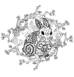 High detail patterned rabbit in zentangle style vector