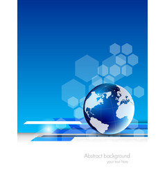 Abstract tech background with globe vector image