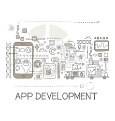 App development process elements creative sketch vector