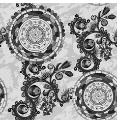 Black and white floral paisley background vector