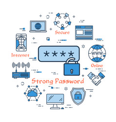 blue round strong password concept vector image