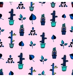 Cactuses pattern with leaves vector image vector image