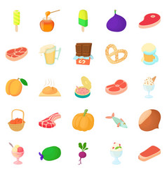 Canned food icons set cartoon style vector