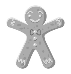 Christmas cookie icon gray monochrome style vector