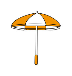 Color silhouette image beach umbrella vector