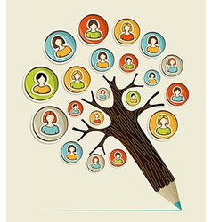 Diversity social people pencil tree vector image vector image