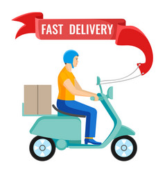 Fast delivery man on moped on vector
