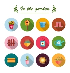 Garden flat icons white background vector image vector image