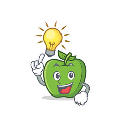 have an idea green apple character cartoon vector image