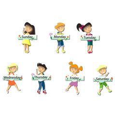 kids with cards saying days of the week vector image