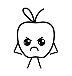Line kawaii cute angry apple fruit vector