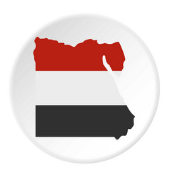 Map of egypt in egyptian flag colors icon circle vector