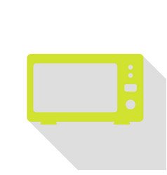 Microwave sign pear icon with flat vector