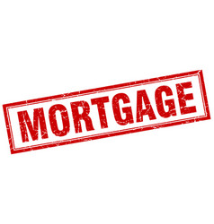 Mortgage red square grunge stamp on white vector