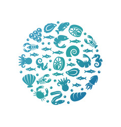 ocean life colorful round concept - sea food vector image vector image