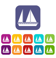 Sailing boat icons set vector