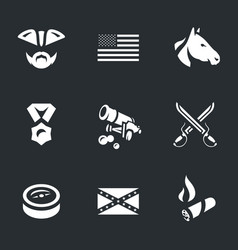 Set of civil war usa icons vector