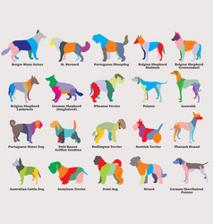 set of colorful mosaic dogs silhouettes-6 vector image vector image